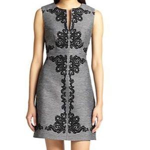 DVF Yvette Dress Black Gray Baroque Print Dress